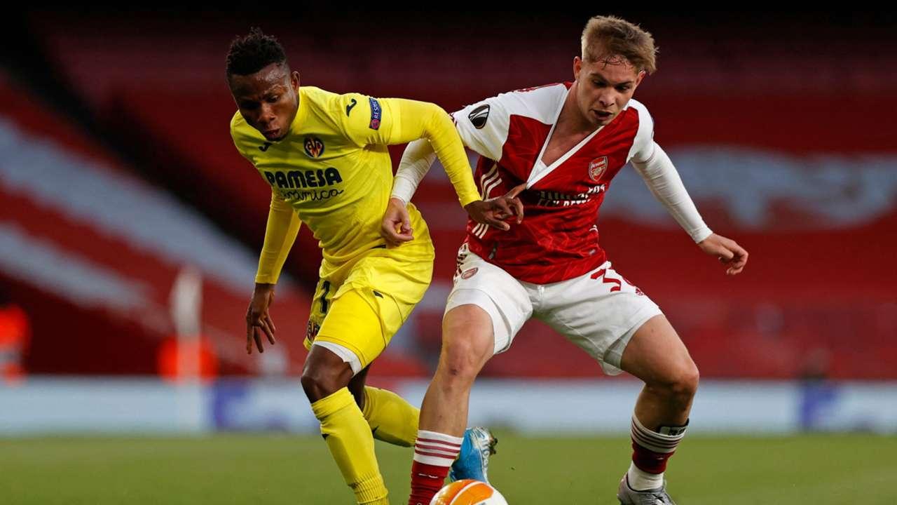 Samuel Chukwueze of Villarreal, Emile Smith Rowe of Arsenal