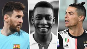 Messi Pele Cristiano Ronaldo collage