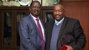 Jomo Cosmos and Raila Odinga of Kenya.