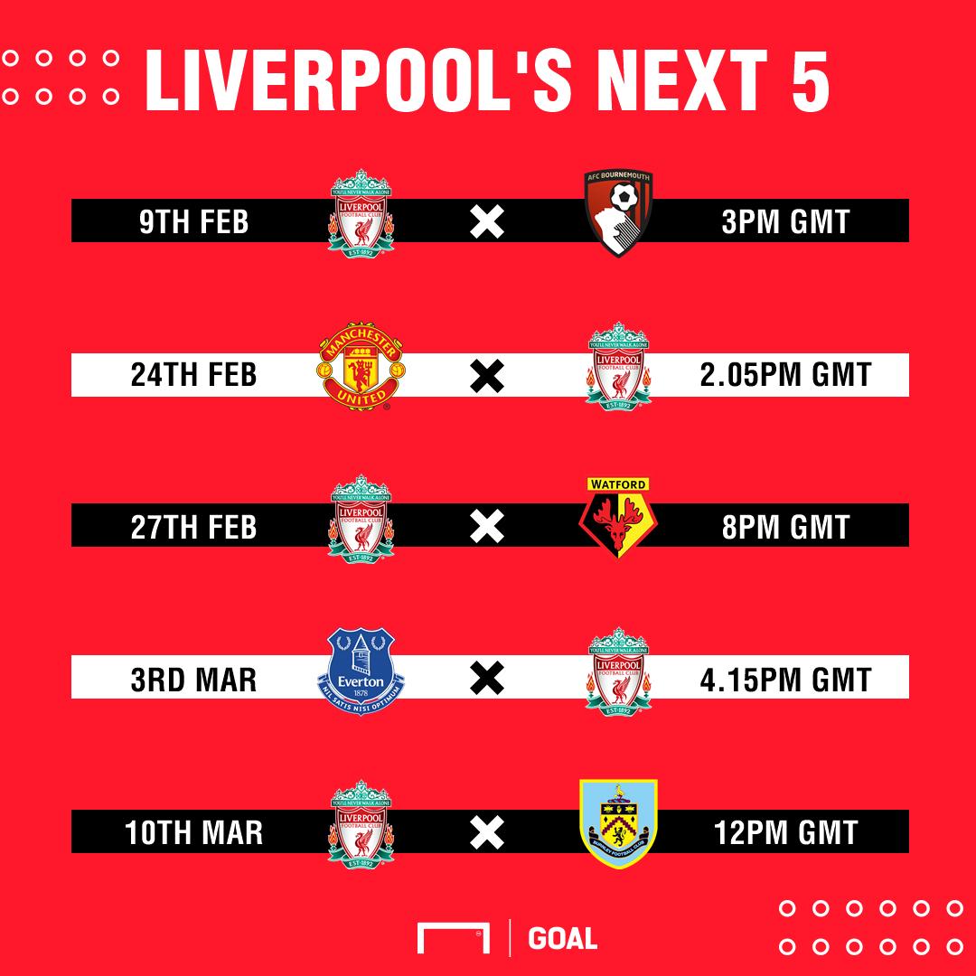 Liverpool's next five PL fixtures