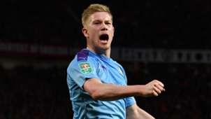 Kevin De Bruyne celebrates vs Man Utd at Old Trafford 2019-20