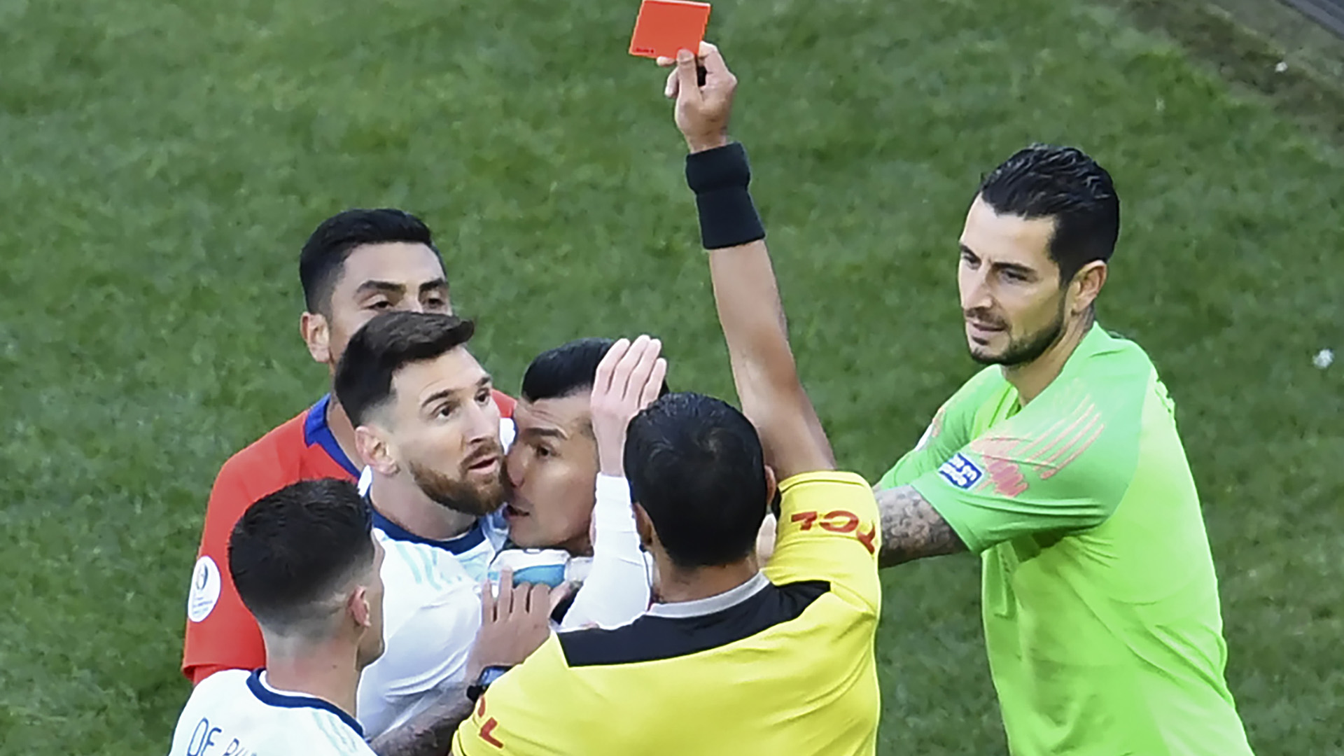 Lionel Messi red card Argentina Copa America 2019
