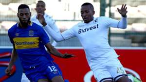 Lehlohonolo Majoro of Bidvest Wits battles for the ball with Taariq Fielies of Cape Town City