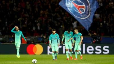 Sergio Busquets Lionel Messi Andres Iniesta Luis Suarez Barcelona PSG Champions League
