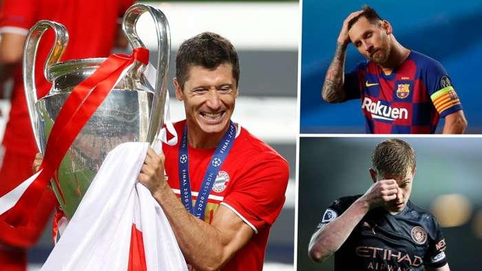 Robert Lewandowski Lionel Messi Kevin De Bruyne GFX