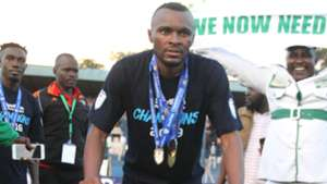 Jacques Tuyisenge of Gor Mahia with KPL Trophy.