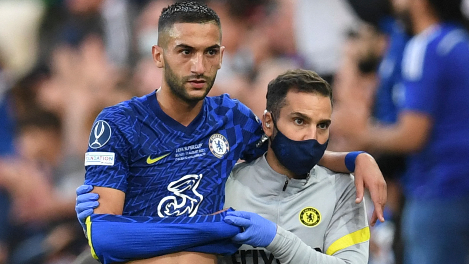 Chelsea star Ziyech subbed off due to injury after scoring against Villarreal in UEFA Super Cup