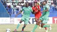 Joash Onyango of Gor Mahia and Charles Momanyi plus Yema Mwana of Bandari FC.