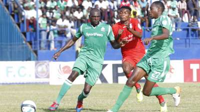 Joash Onyango of Gor Mahia and Charles Momanyi plus Yema Mwana of Bandari FC.