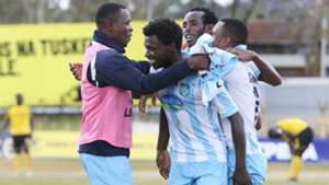 Thika United players celebrates Eugine Mukangula goal.