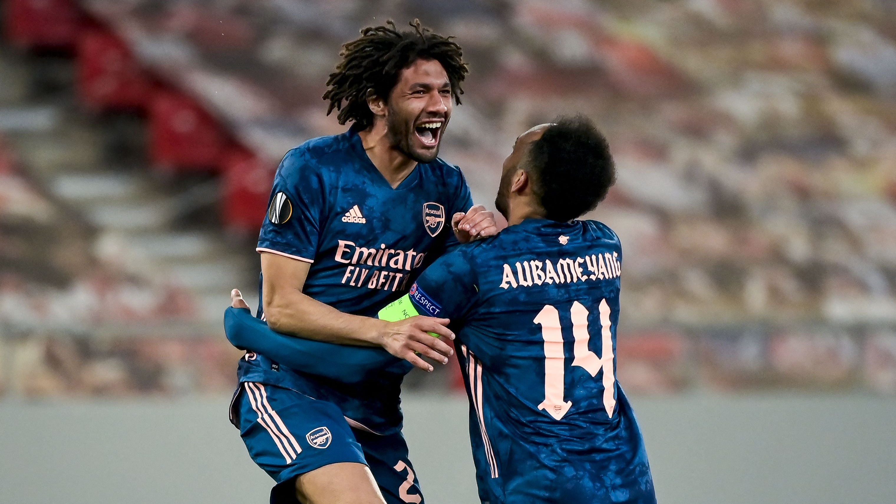 El-Arabi and Elneny score as Arsenal secure victory over Olympiacos in Europa League