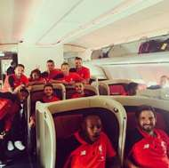 Liverpool on airplane