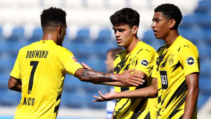 Jadon Sancho Giovanni Reyna Jude Bellingham Borussia Dortmund 2020-21
