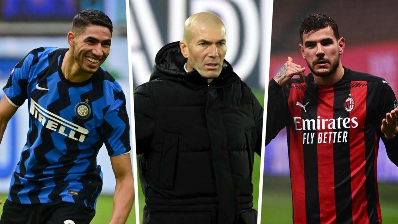 Achraf Hakimi Zinedine Zidane Theo Hernandez Inter AC Milan Real Madrid GFX