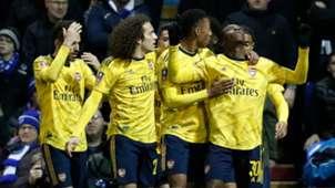 Arsenal celebrate Eddie Nketiah's goal vs Portsmouth