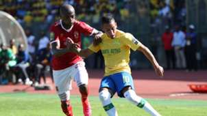 Gaston Sirino of Mamelodi Sundowns challenged by Geraldo of Al Ahly, March 2020