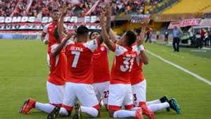 Independiente Santa Fe celebra gol Liga Águila 2019-II