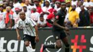 Luvuyo Memela of Orlando Pirates challenged by Eric Mathoho of Kaizer Chiefs, February 2020