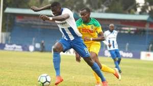 Salim Abdalla of AFC Leopards v Daniel Mwaura of Mathare United.