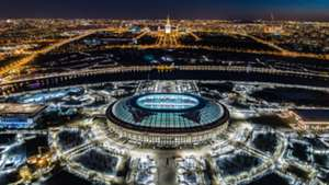 A view of the Luzhniki Stadium before the lights were turned off during the Earth Hour 2018 environmental campaign