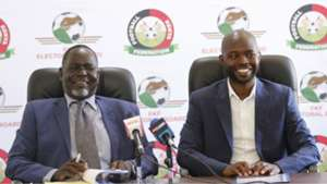 Prof Edwin Wamukoya and Barry Otieno of FKF