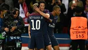Neymar Kylian Mbappe Edinson Cavani PSG Bayern UEFA Champions League 27092017