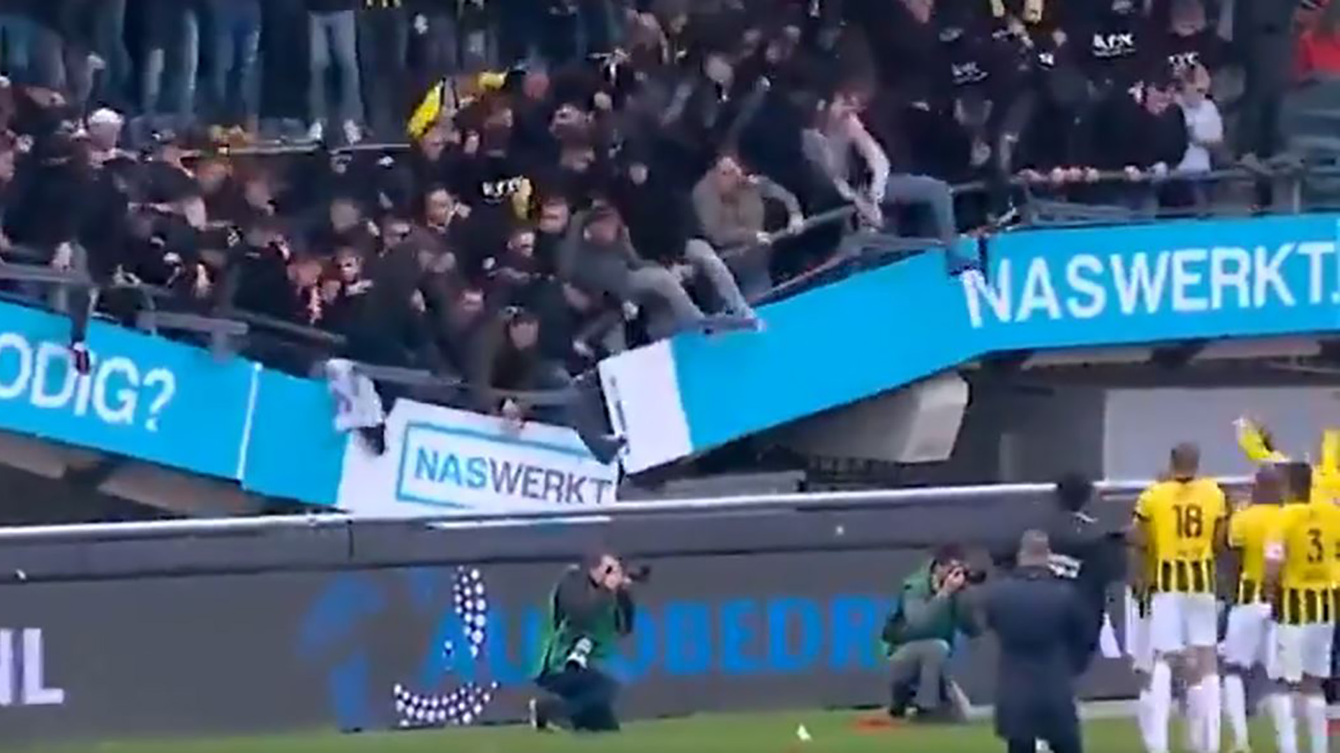 Stand collapses as Vitesse fans celebrate derby win against NEC