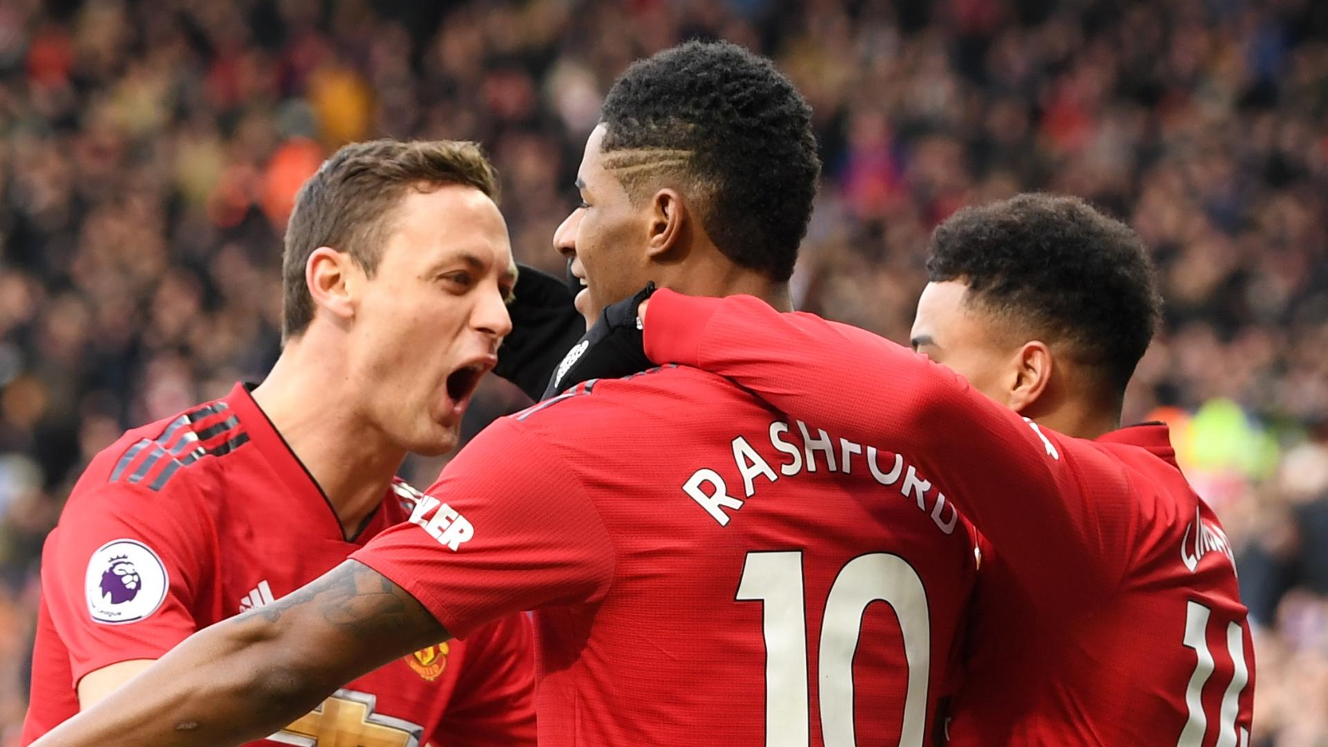 Man Utd celebrate vs Leicester
