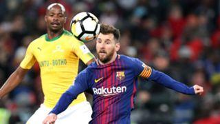 Barcelona's Lionel Messi and Mamelodi Sundowns full-back Tebogo Langerman, May 2018
