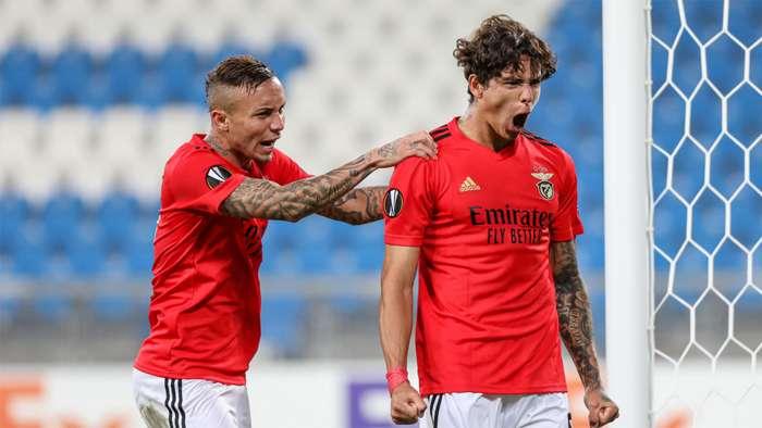 Darwin Nunez e Everton Cebolinha Lech Poznan Benfica Europa League 22102020