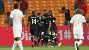 Thabo Qalinge celebrates goal with Orlando Pirates teammates