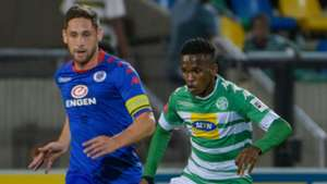 Kabelo Mahlasela of Bloemfontein Celtic and Dean Furman of SuperSport United