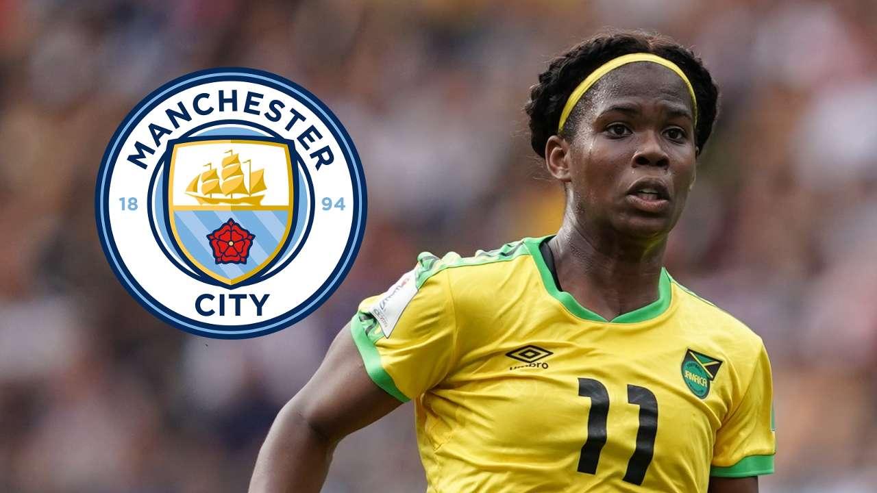Khadija Shaw Jamaica Man City badge composite