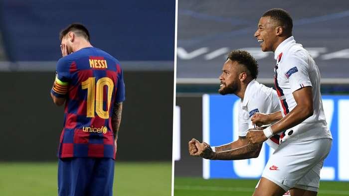 Lionel Messi Barcelona Neymar Kylian Mbappe PSG GFX