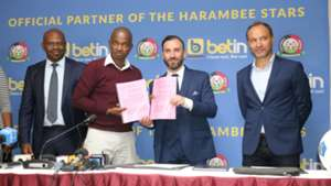 FKF President Nick Mwendwa Robert Muthomi and coach Sebastien Migne.