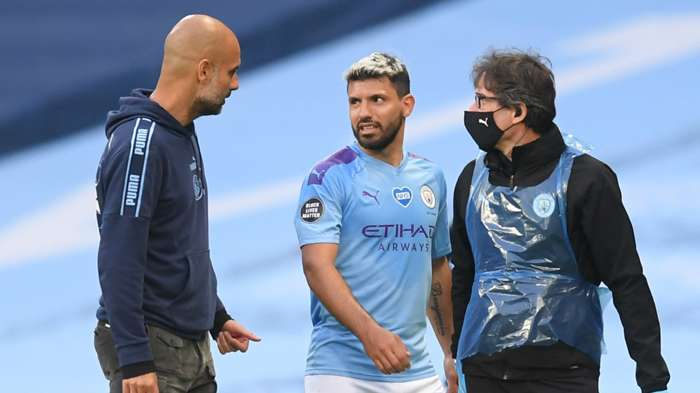 Guardiola Aguero Manchester City