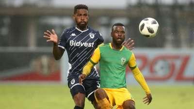 Knox Mutizwa of Golden Arrows challenged by Thulani Hlatshwayo of Bidvest Wits, December 2019