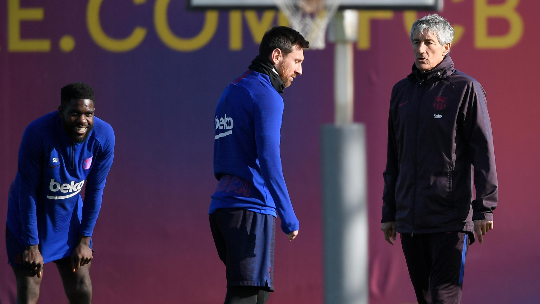 Lionel Messi na tréninku s Quique Setiénem
