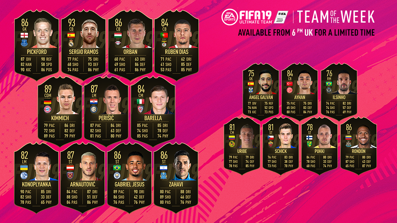 Fifa 19 Ultimate Team Of The Week Sergio Ramos Joshua Kimmich And Gabriel Jesus Headline Squad Goal Com