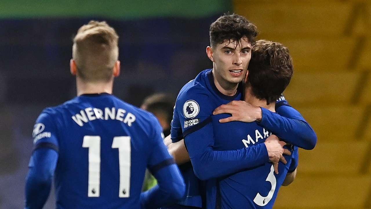 Chelsea celebrate vs Everton, Premier League 2020-21, Timo Werner, Kai Havertz, Marcos Alonso