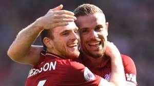 Andy Robertson Jordan Henderson Liverpool 2017-18