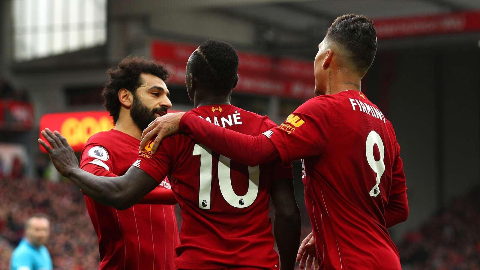 Mohamed Salah Sadio Mane Roberto Firmino Liverpool 19-20