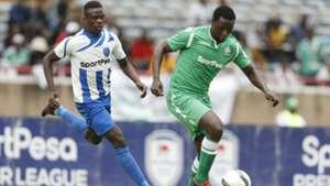 Ernest Wendo of Gor Mahia v Vincent Oburu of AFC Leopards.