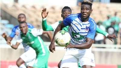 Gor Mahia strikers Jacques Tuyisenge and Francis Mustafa v Lobi Stars of Nigeria.