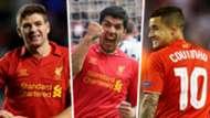 Steven Gerrard Luis Suarez Philippe Coutinho Liverpool