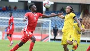 KENNETH MUGUNA of Kenya and Harambee Stars vs EDIMILSON GABRIEL Mozambique.