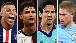 Champions League draw Kylian Mbappe Cristiano Ronaldo Lionel Messi Kevin De Bruyne
