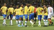 Mamelodi Sundowns players celebrate against Cote d'Or, September 2019