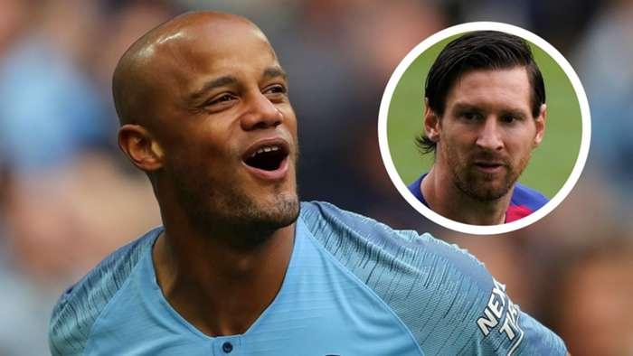 Vincent Kompany, Man City, Lionel Messi, Barcelona overlay