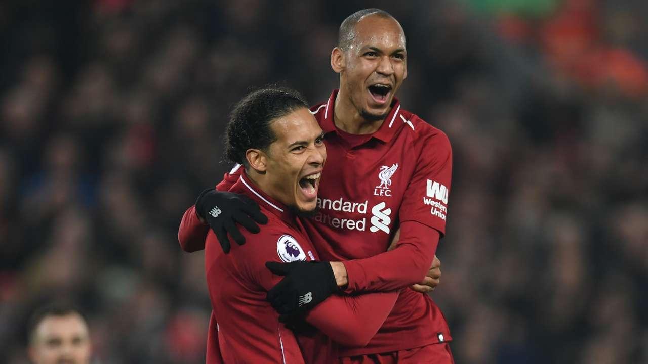 Virgil van Dijk Fabinho Liverpool 2018-19